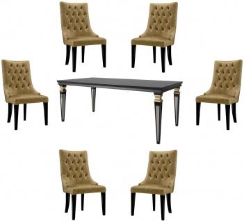 Casa Padrino Luxus Barock Esszimmer Set Gold / Schwarz / Silber - 1 Esszimmertisch & 6 Esszimmerstühle - Esszimmermöbel im Barockstil - Luxus Qualität - Edel & Prunkvoll