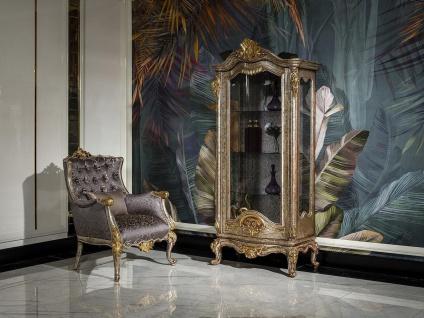 Casa Padrino Luxus Barock Vitrine Antik Silber / Braun / Gold - Handgefertigter Massivholz Vitrinenschrank - Prunkvolle Barock Möbel - Vorschau 3
