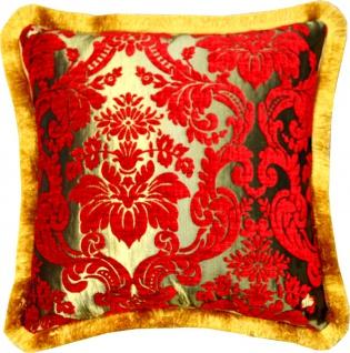 Luxus Kissen Pompöös by Casa Padrino von Harald Glööckler Elegance Collection Barock Muster Rot / Gold 50 x 50 cm - Luxuskissen