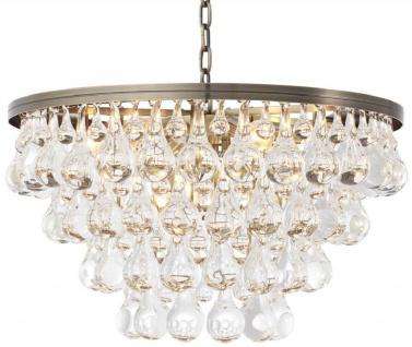 Casa Padrino Luxus Glas Kronleuchter Messingfarben Ø 65 x H. 41 cm - Edler Wohnzimmer Kronleuchter - Luxus Qualität