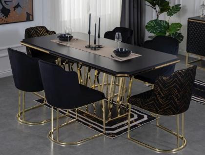 Casa Padrino Luxus Esszimmer Möbel Set Schwarz / Gold - 1 Esszimmertisch & 6 Esszimmerstühle - Luxus Esszimmer Möbel