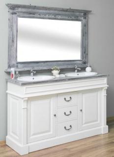 Casa Padrino Landhausstil Badezimmer Set Weiß / Grau - 1 Doppelwaschtisch & 1 Wandspiegel - Massivholz Badezimmermöbel im Landhausstil