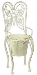 Casa Padrino Jugendstil Blumentopf Weiß 24, 1 x 25, 5 x H. 59 cm - Metall Planzentopf im Gartenstuhl Design - Garten & Terrassen Deko