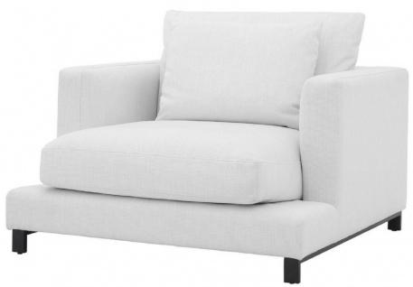 Casa Padrino Luxus Sessel Weiß / Schwarz 110 x 110 x H. 64 cm - Edler Wohnzimmer Sessel mit Kissen - Luxus Möbel - Luxus Qualität