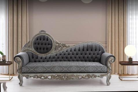Casa Padrino Luxus Barock Sofa Grau / Blau / Silber / Bronze 230 x 90 x H. 135 cm - Prunkvolles Massivholz Wohnzimmer Sofa mit elegantem Muster und dekorativen Kissen - Barock Wohnzimmer Möbel