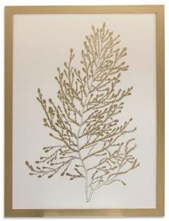 Casa Padrino Luxus Deko Bild Algen Weiß / Gold 60 x H. 80 cm - Luxus Kunstdruck mit Bilderrahmen
