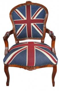 Casa Padrino Barock Salon Stuhl Union Jack / Mahagoni Braun - Englische Flagge - England - Vorschau 1