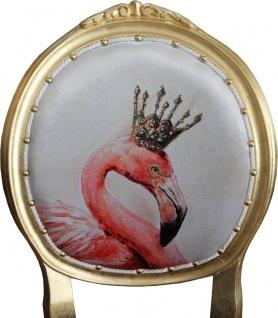 Casa Padrino Barock Luxus Esszimmer Stuhl ohne Armlehnen Flamingo mit Krone und mit Bling Bling Glitzersteinen - Designer Stuhl - Limited Edition - Vorschau 2