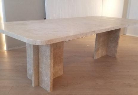 Casa Padrino Luxus Esstisch Beige 230 x 100 x H. 75 cm - Moderner Küchentisch aus hochwertigem Travertin Marmor - Luxus Esszimmer Möbel