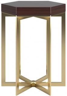 Casa Padrino Designer Beistelltisch Dunkelbraun Hochglanz / Gold 50 x 50 x H. 65 cm - Edler 6-eckiger Tisch mit Massivholz Tischplatte und Edelstahl Gestell - Luxus Qualität