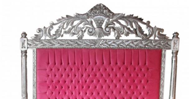 Casa Padrino Luxus Barock Bett Antik Rosa / Silber - Luxus Bett - Antik Look - Vorschau 2