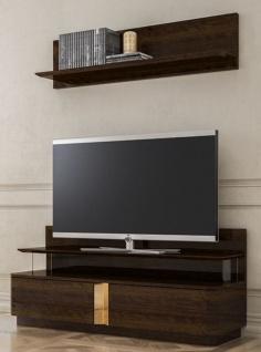 Casa Padrino Luxus Wohnzimmer TV Schrank Set Braun / Gold - 1 TV Schrank & 1 Wandregal - Edles Wohnzimmer Möbel Set - Luxus Qualität