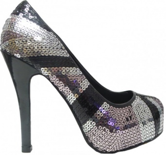 Mermaid High Heels Damen Schuhe Silver/Black