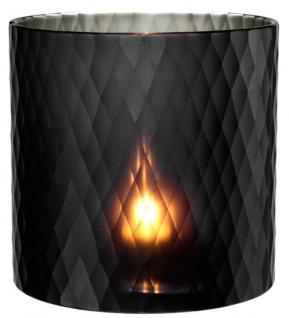 Casa Padrino Glas Teelichthalter Schwarz Ø 20 x H. 20 cm - Luxus Windlicht