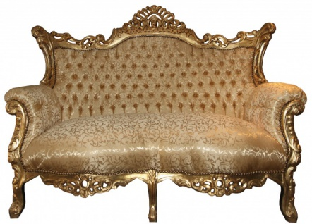 Casa Padrino Barock 2er Sofa Master Gold Muster / Gold - Wohnzimmer Couch Möbel Lounge