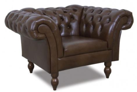 Casa Padrino Chesterfield Echtleder Sessel Dunkelbraun 130 x 90 x H. 80 cm - Wohnzimmermöbel im Chesterfield Design - Vorschau