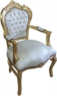 Casa Padrino Barock Esszimmer Stuhl mit Armlehnen in Creme-Weiss Muster / Gold - Antik Möbel - Limited Edition - Vorschau 2