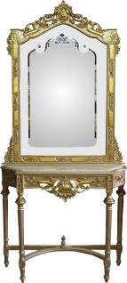 Casa Padrino Barock Spiegelkonsole Gold mit Marmorplatte und mit schönen Barock Verzierungen auf dem Spiegelglas Mod8 - Antik Look