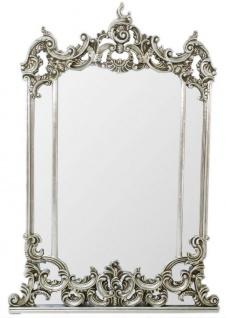 Casa Padrino Barock Spiegel Silber 75 x H. 130 cm - Prunkvoller Wandspiegel im Barockstil - Antik Stil Garderoben Spiegel - Wohnzimmer Spiegel - Barock Möbel
