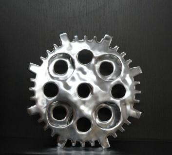Casa Padrino Designer Weinregal aus poliertem Aluminium für 4 Flaschen Rund H 40 cm, B 40 cm, T 14 cm - Flaschenhalter - Flaschenablage Gear Copper - Vorschau 3