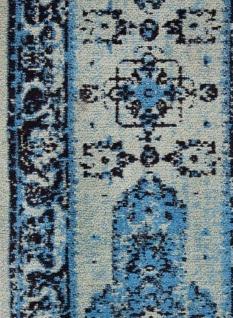 Casa Padrino Vintage Wohnzimmer Teppich Blau 160 x 240 cm - Rechteckiger Baumwoll Teppich - Wohnzimmer Deko Accessoires - Vorschau 5