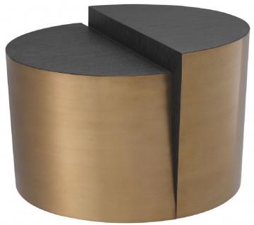 Casa Padrino Designer Beistelltisch Anthrazitgrau / Messingfarben Ø 60 x H. 42, 5 cm - Designer Wohnzimmer Möbel - Luxus Qualität