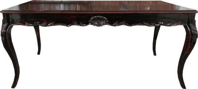 Casa Padrino Barock Esstisch Schwarz / Braun Antik Stil Look mit Glasplatte - Esszimmer Tisch im Barockstil - ALLE GRÖSSEN