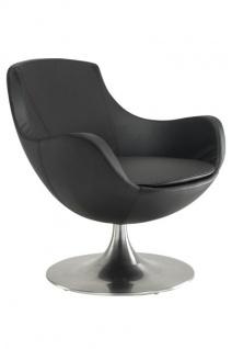 Casa Padrino Designer Sessel Schwarz - Lounge Sessel - Büro Sessel - Drehsessel - Vorschau 2