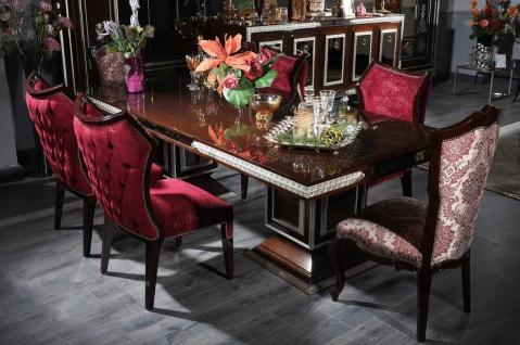 Casa Padrino Luxus Barock Esszimmer Set Bordeauxrot / Dunkelbraun / Silber - 1 Esstisch & 6 Esszimmerstühle - Esszimmer Möbel im Barockstil - Edel & Prunkvoll
