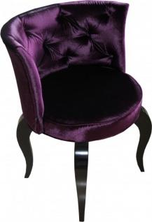 Casa Padrino Barock Salon Stuhl Lila / Schwarz - Designer Sessel - Luxus Qualität - Vorschau 4