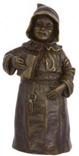 Casa Padrino Jugendstil Tischglocke trinkender Mönch Bronze / Gold 6, 1 x 4, 9 x H. 12, 6 cm - Tischklingel Service Glocke aus Bronze - Hotel & Gastronomie Accessoires