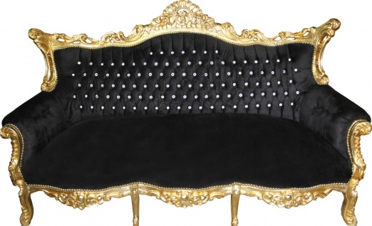 Casa Padrino Barock 3-er Sofa Master Schwarz / Gold mit Bling Bling Glitzersteinen - Wohnzimmer Möbel Couch Lounge
