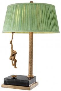 Casa Padrino Luxus Tischleuchte Vintage Messingfarben / Schwarz / Grün Ø 50 x H. 75 cm - Designermöbel