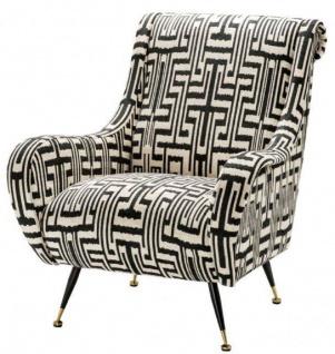 Casa Padrino Luxus Sessel Schwarz / Weiß / Messingfarben 80 x 90 x H. 88 cm - Wohnzimmer Sessel - Wohnzimmermöbel