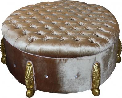Casa Padrino riesiger Barock Rundhocker in Gold mit Bling Bling Glitzersteinen Durchmesser 107 cm - Luxus Hotel Möbel - Limited Edition