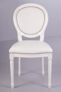 Casa Padrino Barock Esszimmer Stuhl Weiß / Weiß Lederoptik - Designer Stuhl - Luxus Qualität