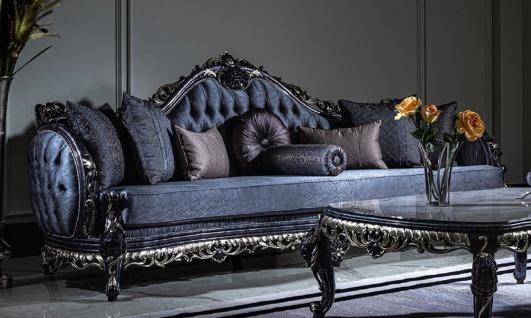 Casa Padrino Luxus Barock Sofa Blau / Gold - Handgefertigtes Wohnzimmer Sofa mit elegantem Muster und dekorativen Kissen - Prunkvolle Wohnzimmer Möbel im Barockstil