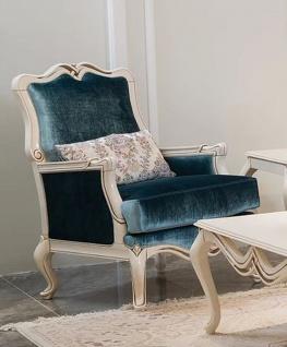 Casa Padrino Luxus Barock Sessel Blau / Weiß 76 x 67 x H. 103 cm - Wohnzimmer Sessel mit dekorativem Kissen - Wohnzimmer Möbel im Barockstil