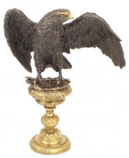 Casa Padrino Bronzefigur Adler Grau / Gold 34 x 22 x H. 37, 7 cm - Luxus Dekoration