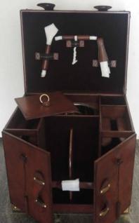 Casa Padrino Luxus Rindsleder Minibar / Kofferbar mit Zubehör Cognac Braun 41 x 32, 5 x H. 37 cm - Luxus Qualität