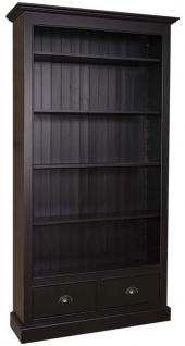 Casa Padrino Landhausstil Bücherschrank Schwarz 109 x 39 x H. 210 cm - Wohnzimmermöbel im Landhausstil - Vorschau 1