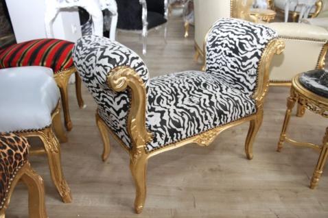 Barock Schemel Hocker Zebra / Gold - Sitzbank - Vorschau