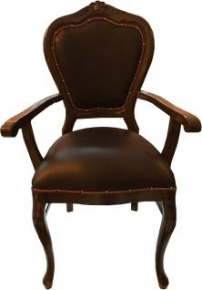 Casa Padrino Barock Luxus Echtleder Esszimmer Stuhl Braun / Braun mit Armlehnen - Handgefertigte Möbel mit echtem Leder