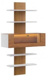 Casa Padrino Wandregal Braun / Weiß 110, 6 x 40, 4 x H. 193, 4 cm - Moderne Beleutetetes Massivholz Wandregal - Moderne Wohnzimmer Möbel
