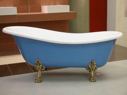 Freistehende Luxus Badewanne Jugendstil Roma Hellblau/Weiß/Altgold 1470mm - Barock Badezimmer - Vorschau 2
