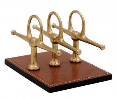 Casa Padrino Luxus Briefständer Echtleder Braun / Messing 4 x 8 cm x H12cm - Leder Ständer Briefe Visitenkarten - Büro Accessoire