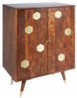 Casa Padrino Designer Barschrank Braun / Gold 75 x 46 x H. 96 cm - Moderner Massivholz Weinschrank mit 2 Türen - Bar Möbel