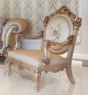 Casa Padrino Luxus Barock Sessel Beige / Kupferfarben 85 x 85 x H. 120 cm - Prunkvoller Wohnzimmer Sessel mit edlem Blumenmuster - Barock Wohnzimmer Möbel