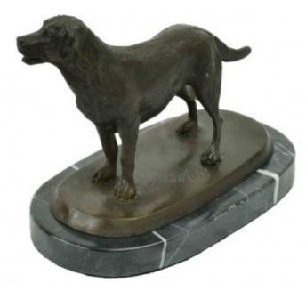 Casa Padrino Luxus Bronze Skulptur Hund Labrador Bronze / Schwarz 23 x 13 x H. 17 cm - Deko Bronzefigur mit Marmorsockel
