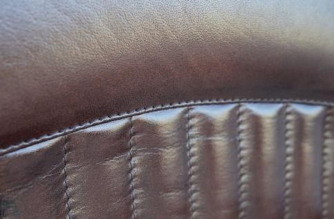 Casa Padrino Vintage Industrial Echtleder Armlehnstuhl Industrie Stuhl - ALLE FARBEN - Luxus Sessel Industrie Armlehner Design Möbel Büffelleder - Vorschau 4